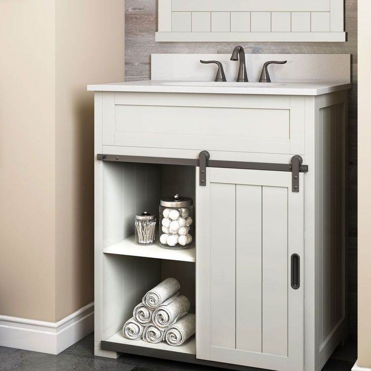 Photo of Style Selections Morriston 30-in White Single Sink Bathroom Vanity with White Engineered Stone Top at Lowes.com