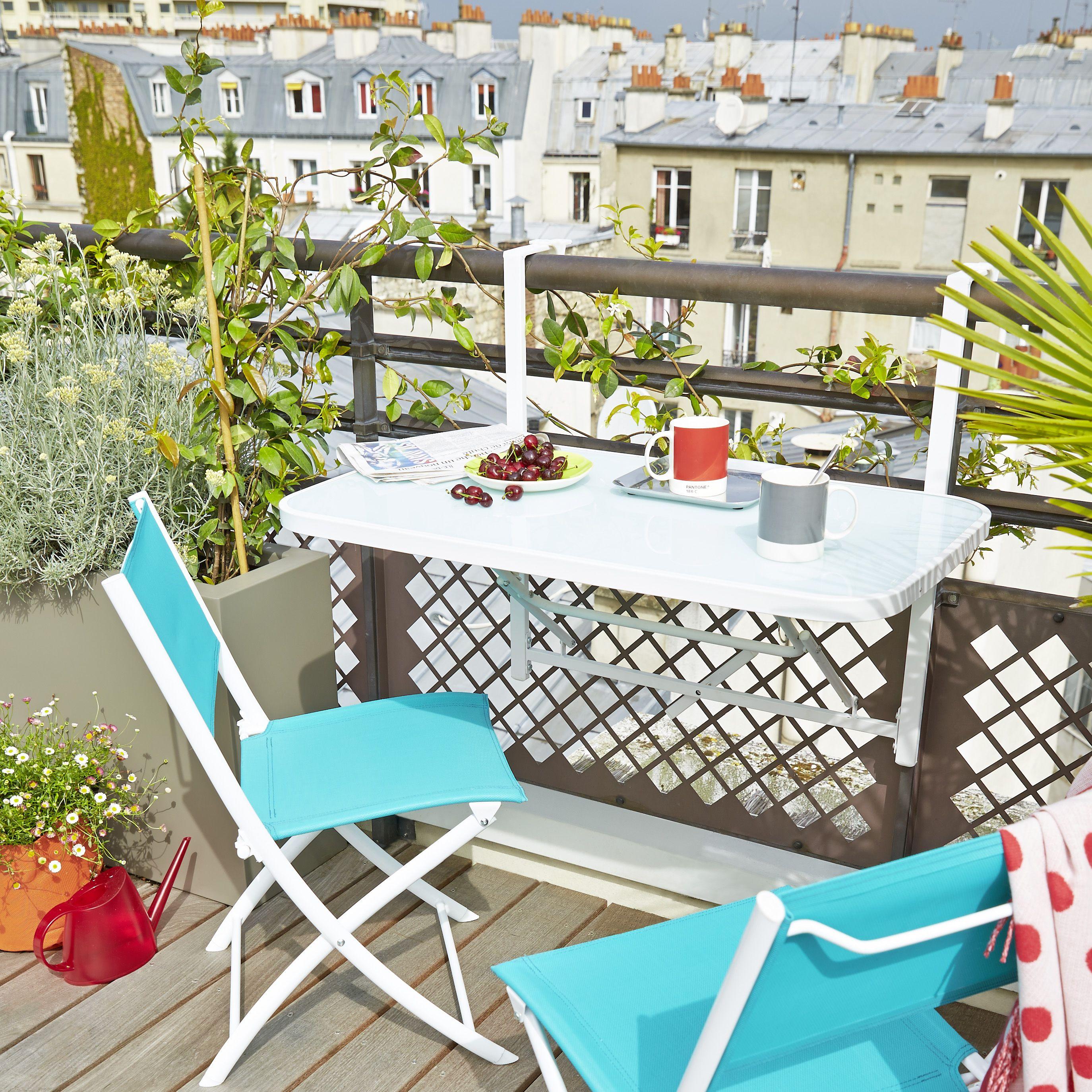 la table balcon accrocher en acier plateau en verre. Black Bedroom Furniture Sets. Home Design Ideas