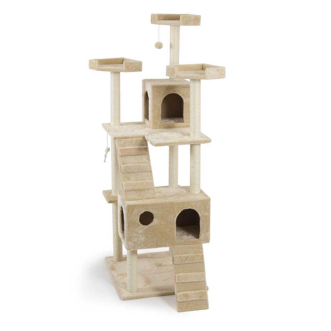 Fur Family Cat Tree Condo Furniture Scratching Post Pet House Mice  Beige/Almond (36