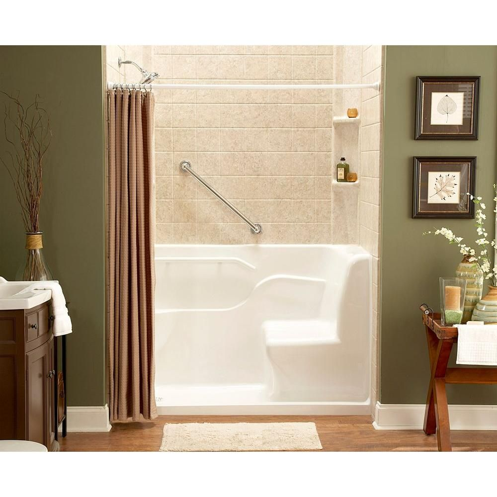 American Standard 5 Ft Right Drain Seated Shower In Linen