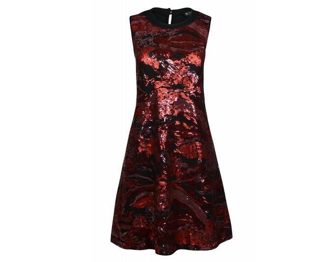 Laura Scott Kleid Damen Cocktailkleid Abendkleid Pailletten Rot ...