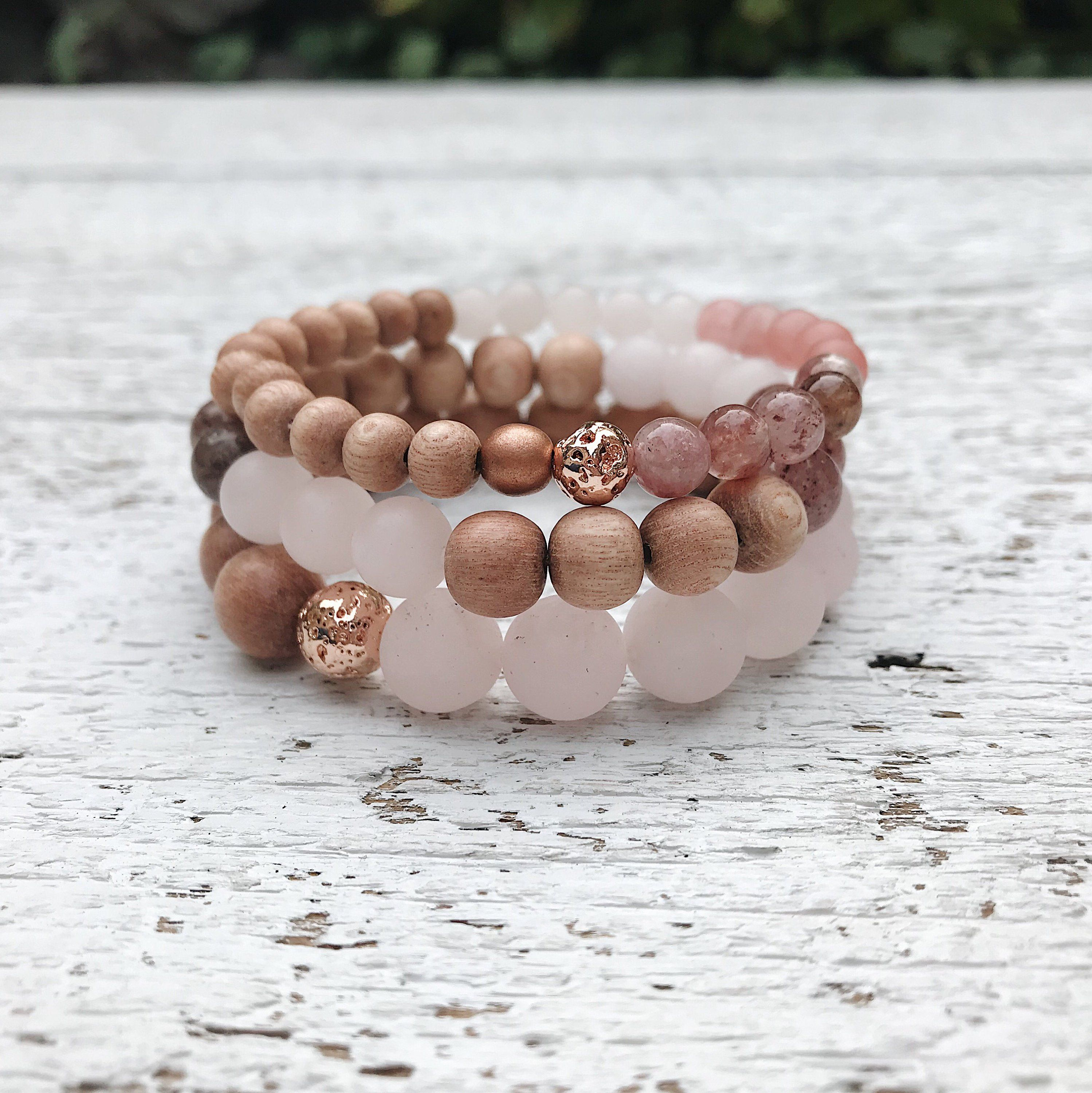 Pink Quartz gemstone bead bracelet stacking set, rose wood essential oil diffuser blush jewelry #gemstonejewelry
