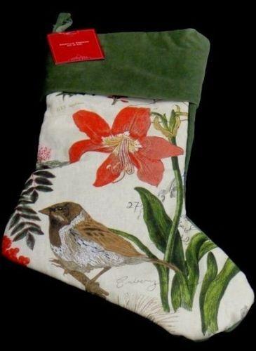Pottery Barn Bird Decoupage Christmas Stocking Green Amaryllis New ...