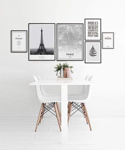 Wohnideen Bilderwand inspiration till tavelväggar och tavelcollage hänga tavlor kunst