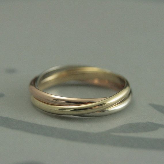 Tri Color Rolling RingSolid 14K Yellow Gold White Gold and Rose
