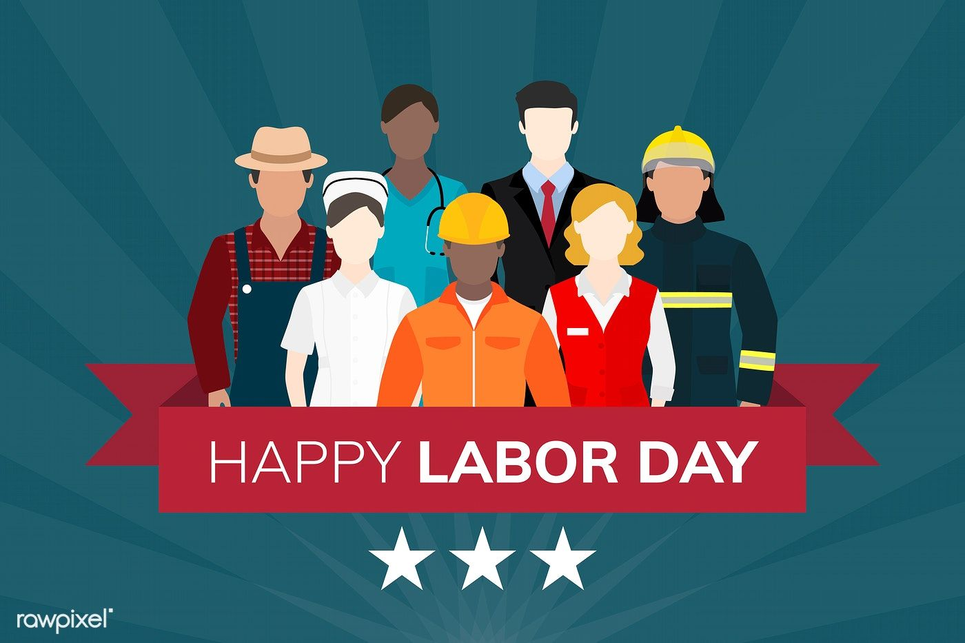 Diverse occupation celebrating labor day vector   free image by  rawpixel.com   Vector free, Happy labor day, Art quotes inspirational