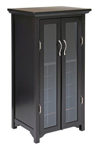 Winsome Wood Wine Cabinet With French Doors Espresso By Winsome
