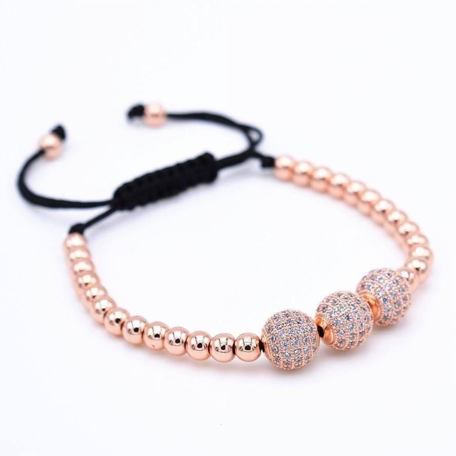 Rose gold beaded macrame bracelet macrame bracelets unisex and