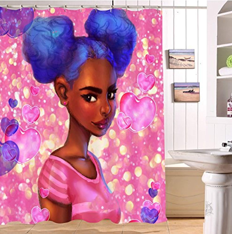 LB Cute Afro American Girl Love Heart Pattern Shower