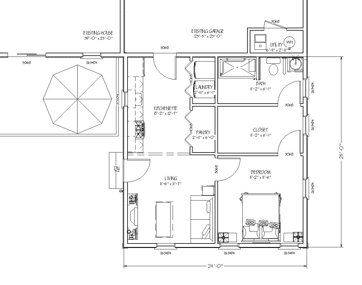 In Law Additions Floor Plans: Blueprint View Of $89,000 In-law Apartment