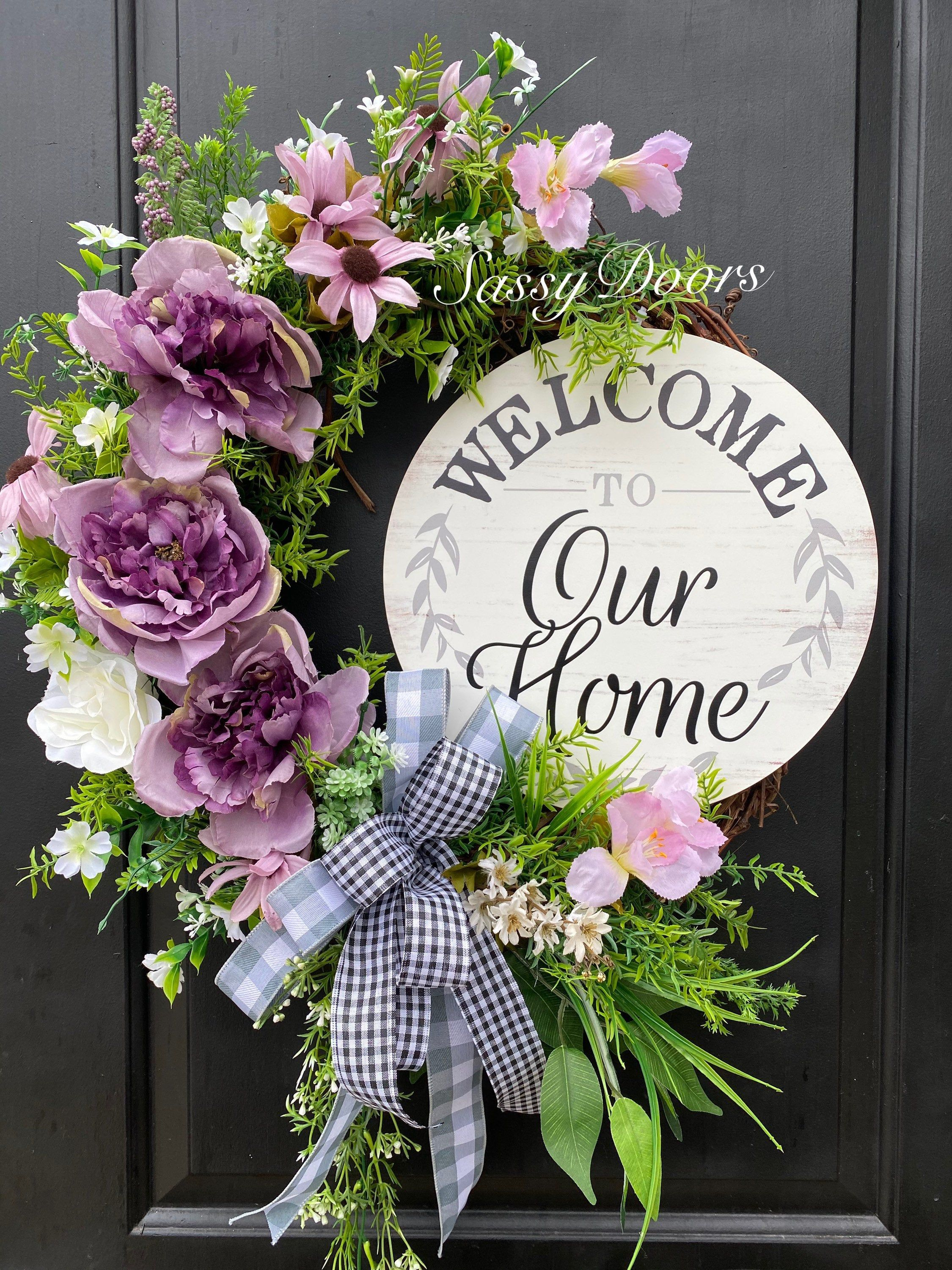 Photo of Spring and Summer Wreaths, Mother's Day Gift, Wreath, Peonies Wreath, Wreath For Front Door, Welcome Wreath, Front Door Wreath,