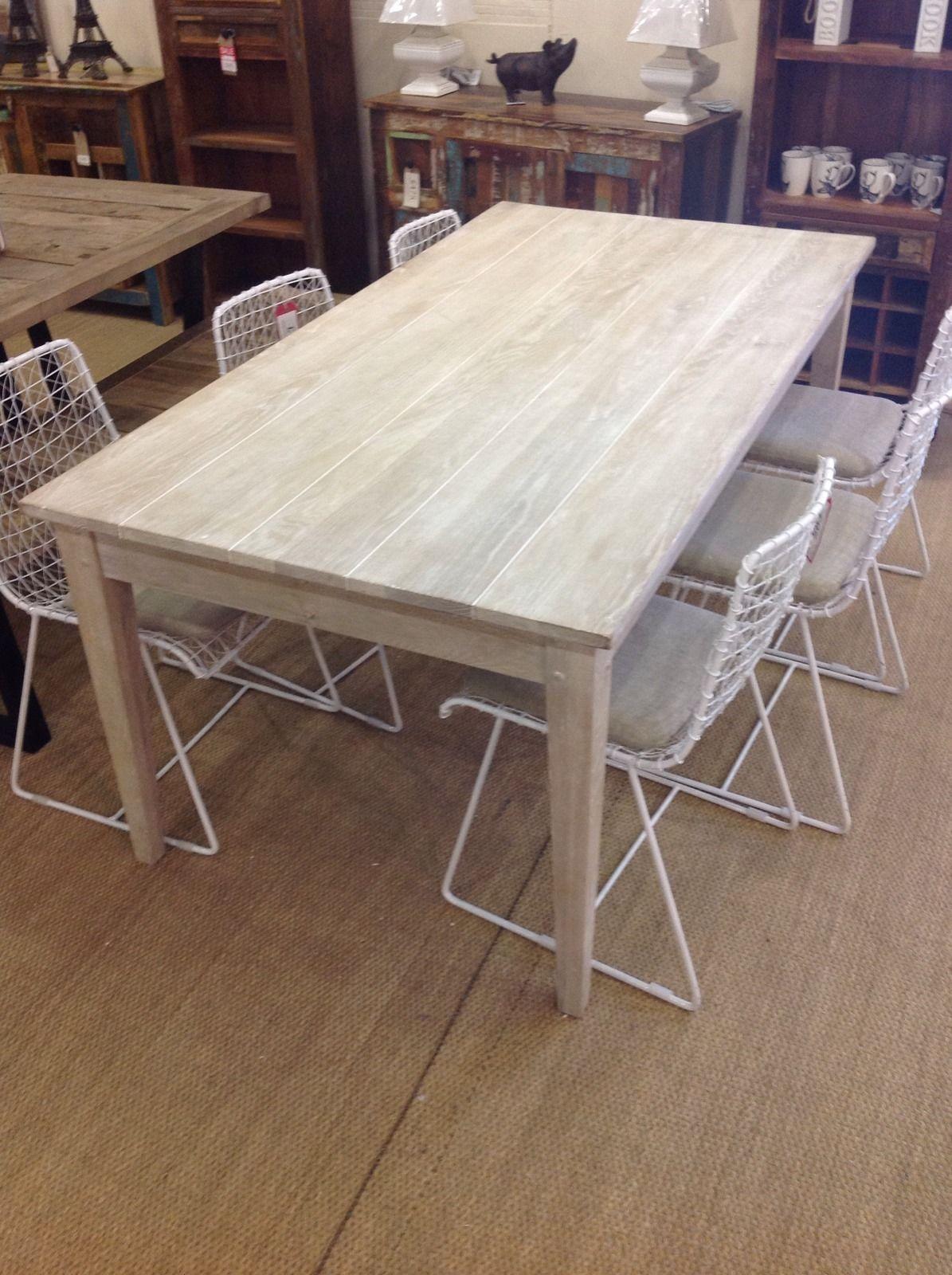 Designer Brand Plank Washed Oak Dining Table Large Cm In Home - Washed oak dining table and chairs