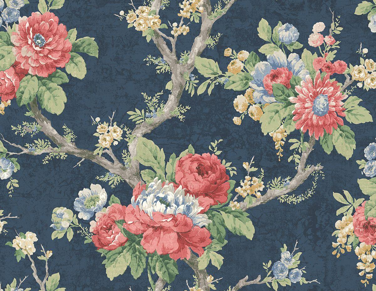 Brockhall floral branch royal blue nh20411