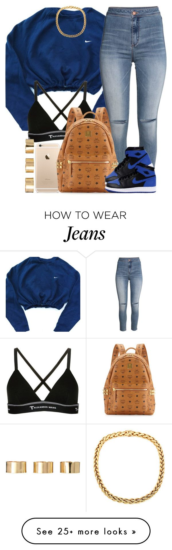 """""""Blue."""" by livelifefreelyy on Polyvore featuring NIKE, T By Alexander Wang, H&M, MCM, Retrò and ASOS"""
