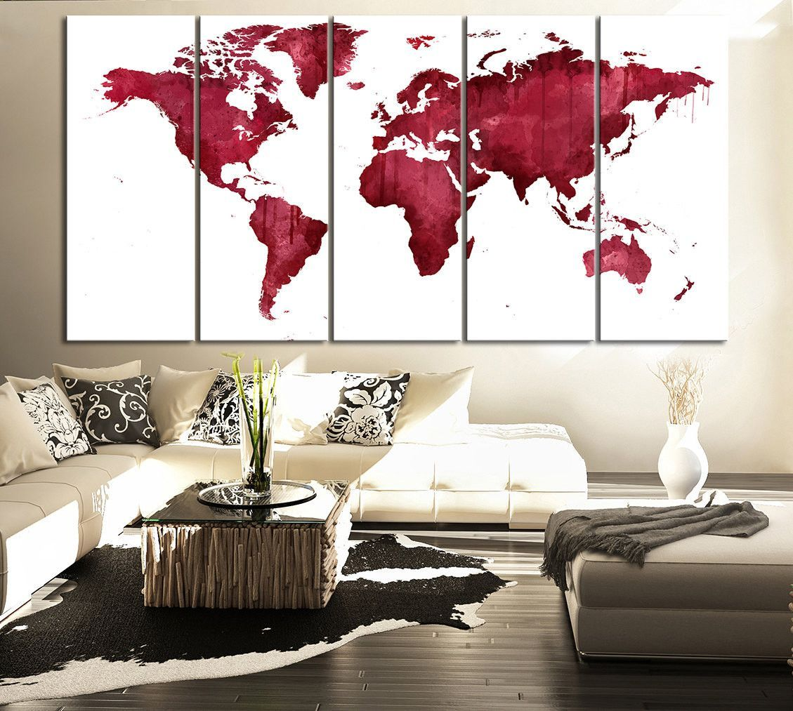 Red world map canvas print art drawing on white background red world map canvas print art drawing on white background watercolor world map 5 piece gumiabroncs Image collections