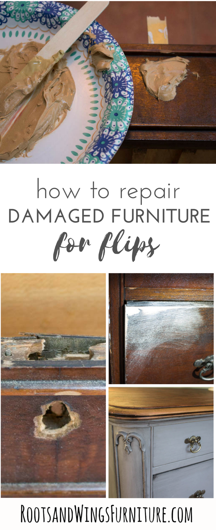 Furniture Repair Filling Large Holes In Wood Roots Wings Furniture Llc Furniture Repair Furniture Fix Flipping Furniture