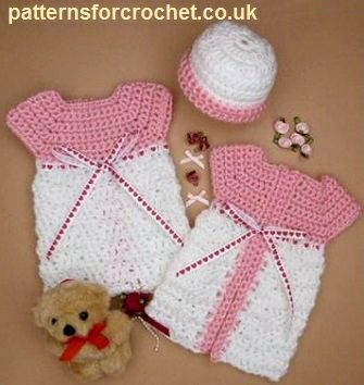 Free baby crochet pattern micro preemie gown and hat usa  7d4f94c95aa