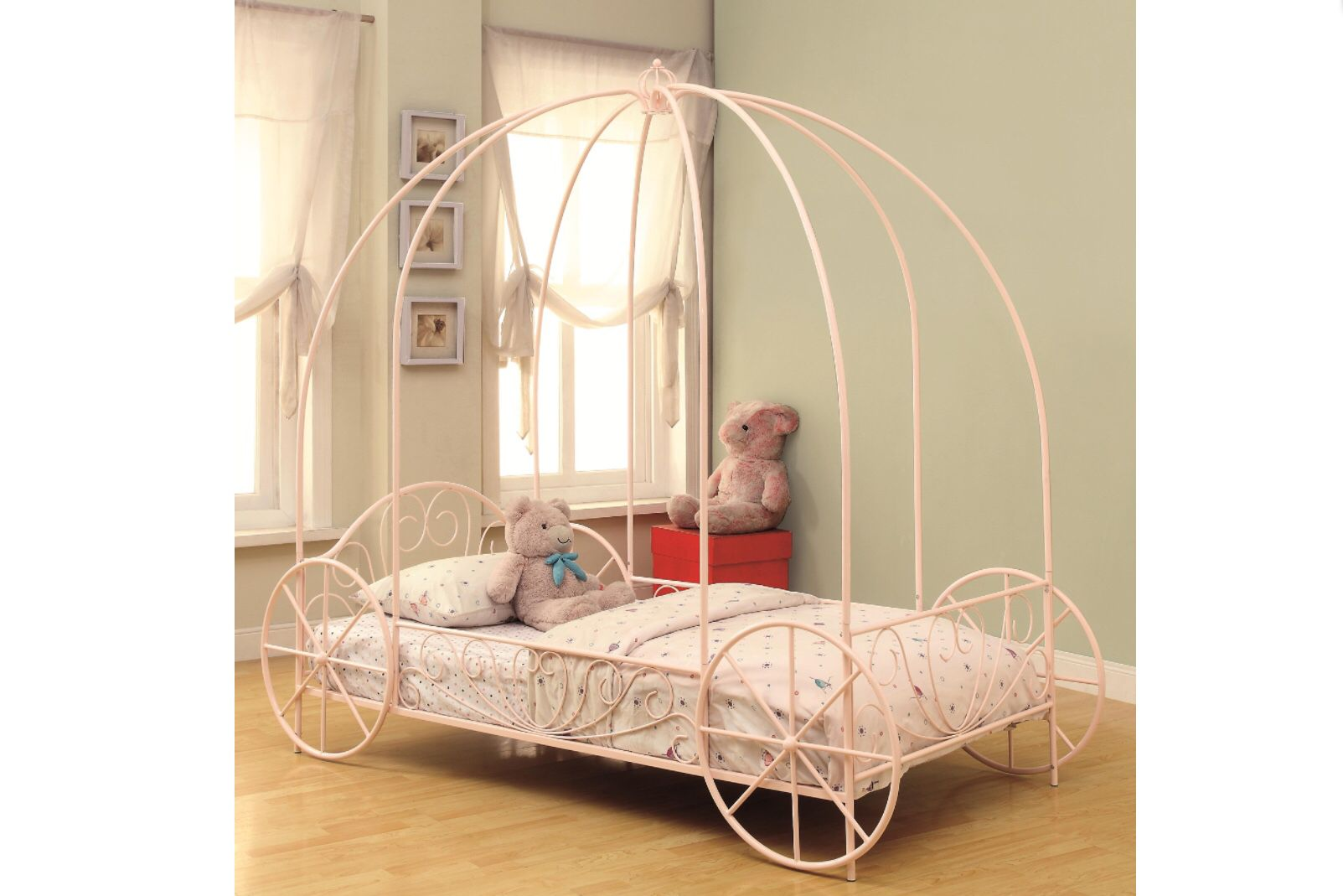 Iron Twin Canopy Carriage Bed  To order call The Sleep Center at 706-850-1665
