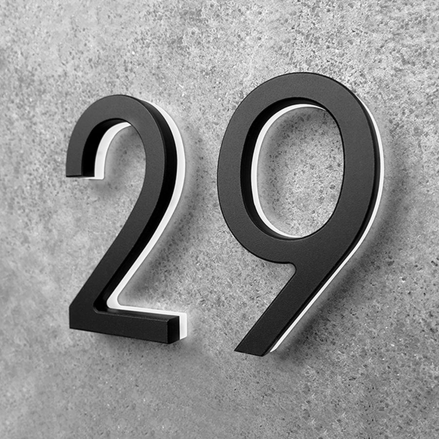 Luxello Led Black House Number 5 With Images Led House Numbers Modern Black Lighting Led House