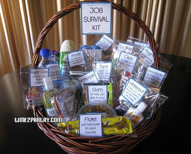 job survival basket kit for someone just beginning a new job or