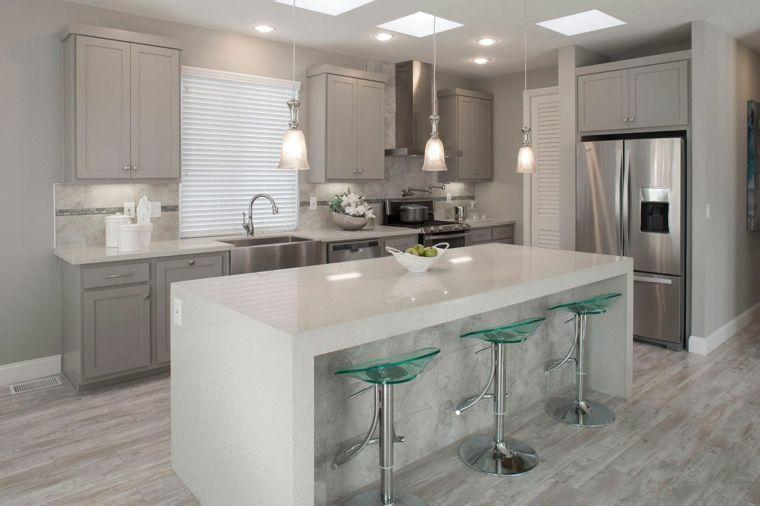idea per arredare cucine moderne piccole con isola bianca. mobili ...