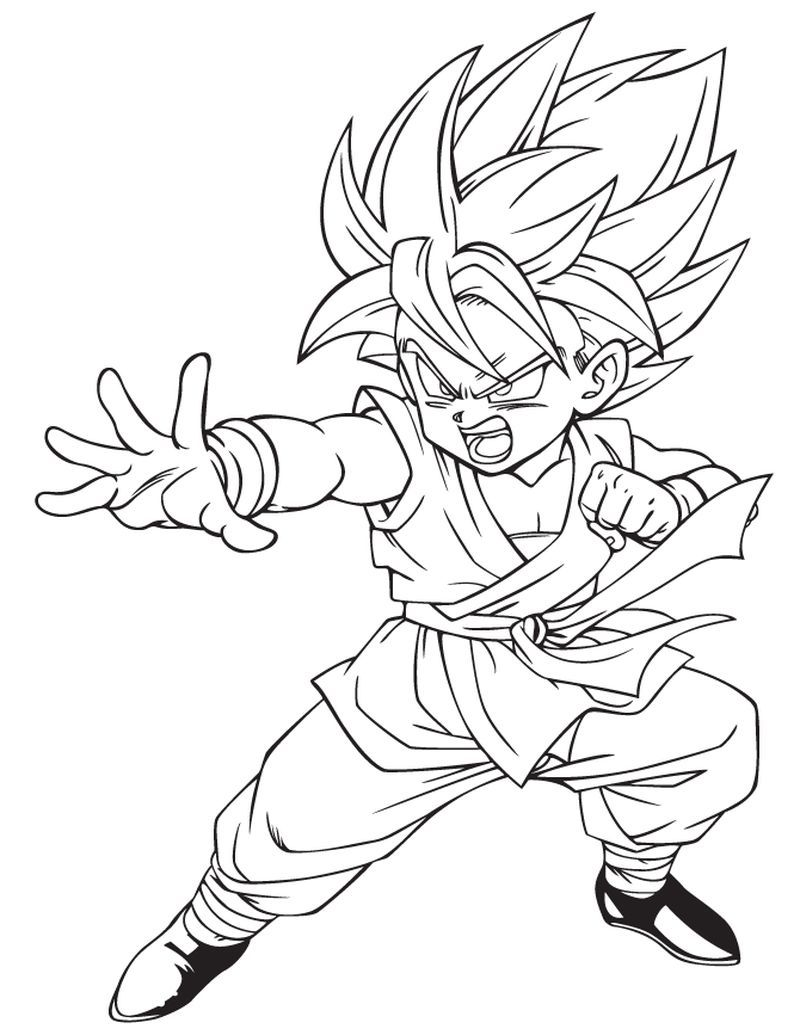 Super Saiyan Kid Goku Dragon Ball Coloring Pages In 2020 Dragon Ball Art Super Coloring Pages Dragon Ball