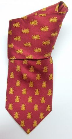 BEE NECK TIE - All over design - Red Salmon