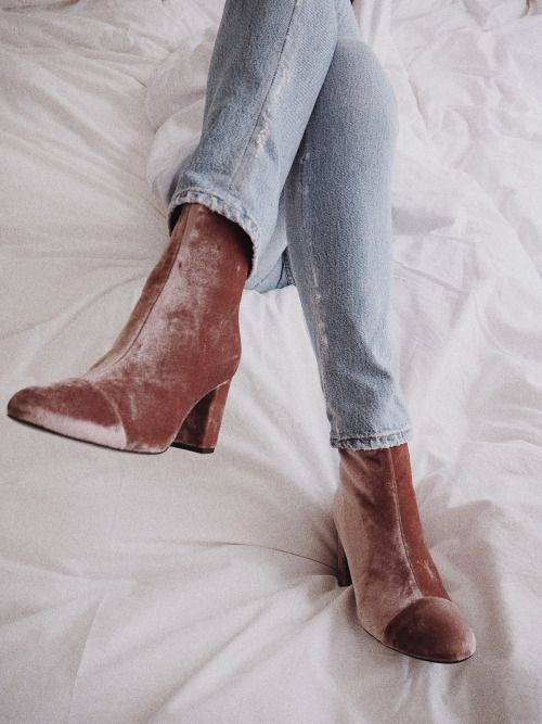 fef9f66a5a6 velvet (blush pink!) booties. | fall style. in 2019 | Fashion, Shoes ...
