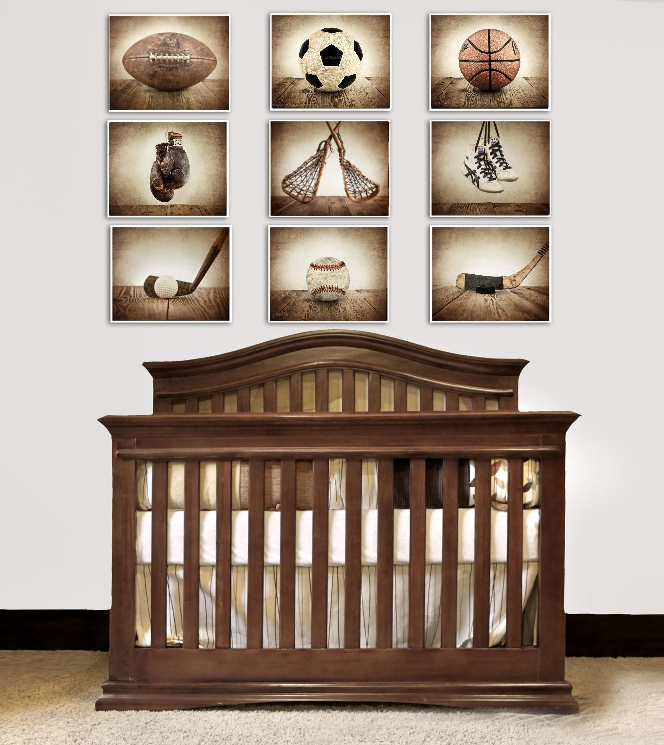 The Sports Collection Set Of Nine Prints Nursery Decor Rustic Vintage