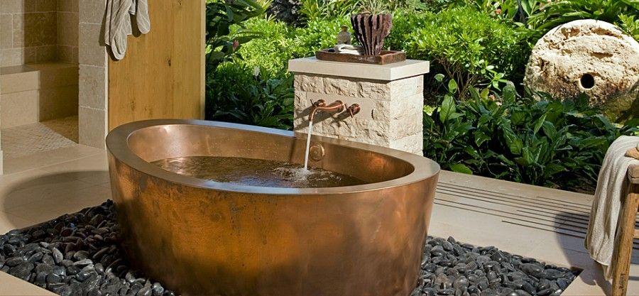 Copper bath by Diamond Spas at Kukio Estate, Hawaii by Saint Dizier Design