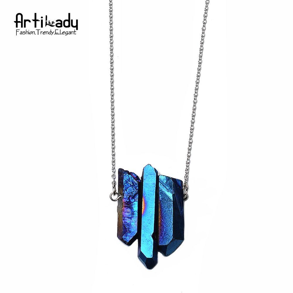 Artilady 3 stücke kristall anhänger halsketten silber kette quarz stein halskette frauen schmuck qm