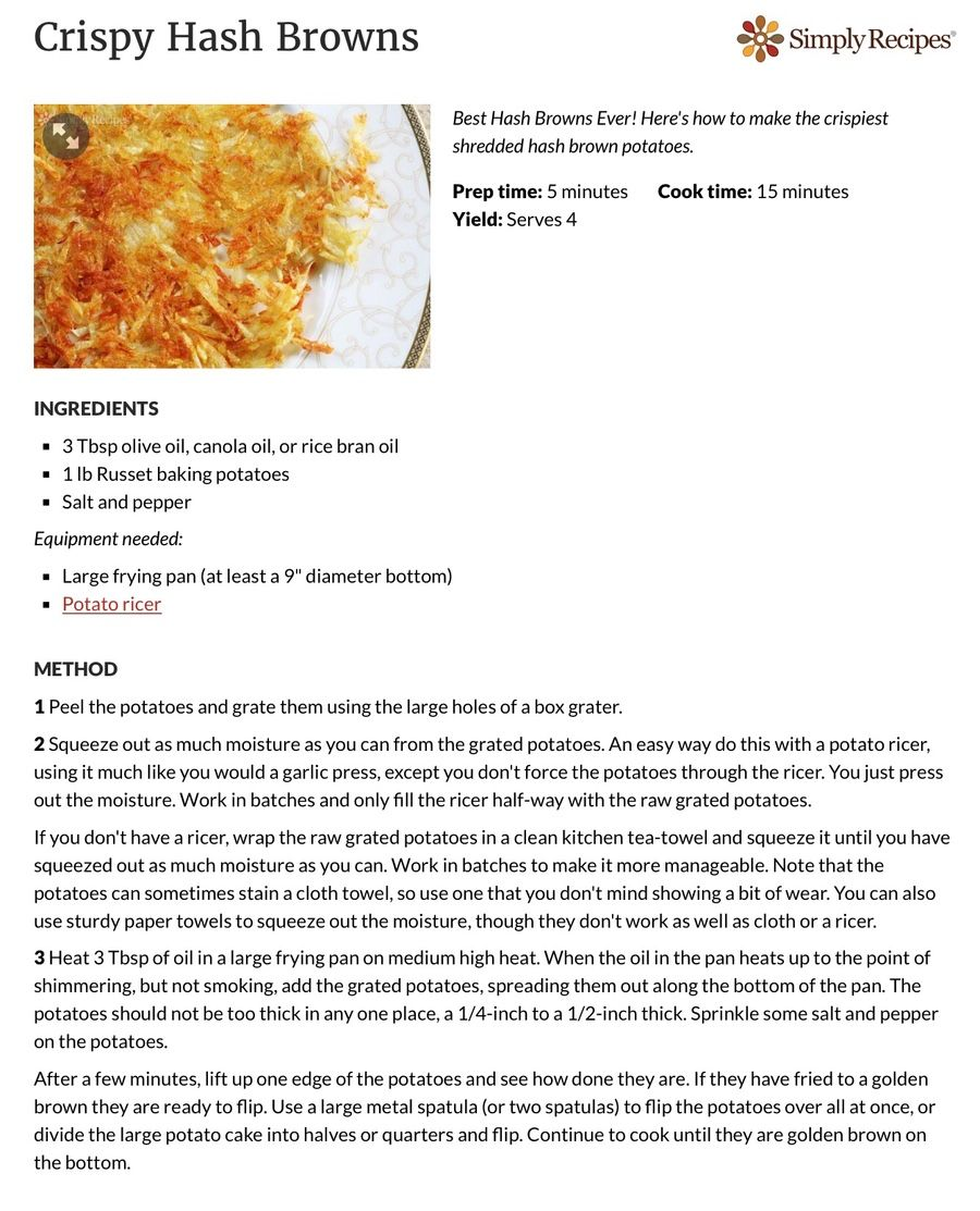 Crispy hash browns recipe in 2020 with images crispy