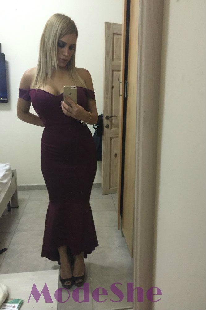 6667386e95 Elegant Burgundy Off-shoulder Mermaid Jersey Evening Dress