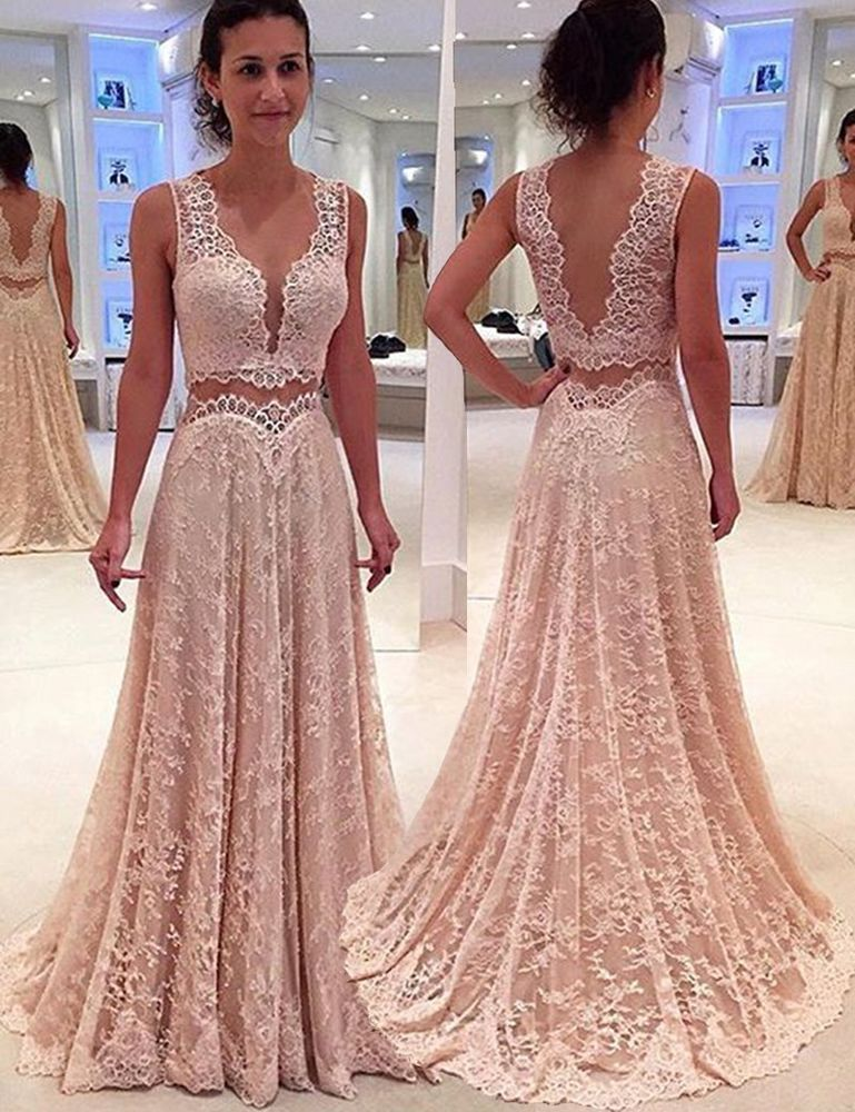 Two Piece Scalloped-Edge Long Pearl Pink Lace Prom Evening Pageant ...