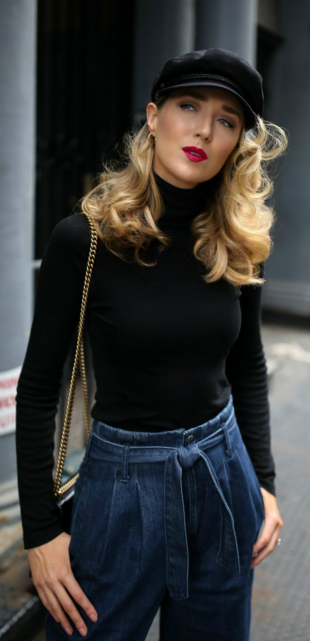 03796068a14 9 Accessory Trends You Need To Know This Fall    black baker boy hat ...