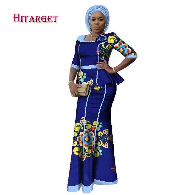 7e1b68226f64f 2018 Bazin Riche Africain Impression Kanga Vêtements 2 pièce Ensemble avec  Headtie Femmes Africaines Crop Top Long Sirène Jupe Ensemble WY2694