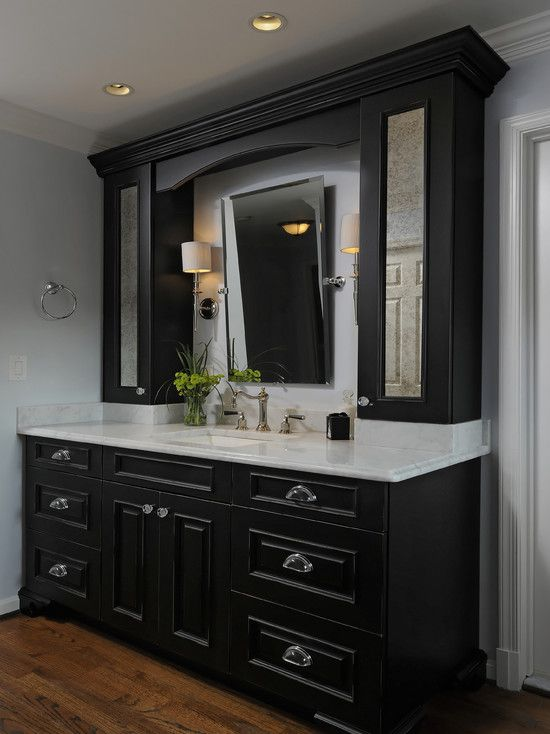 black bathroom cabinets with white counters design, pictures