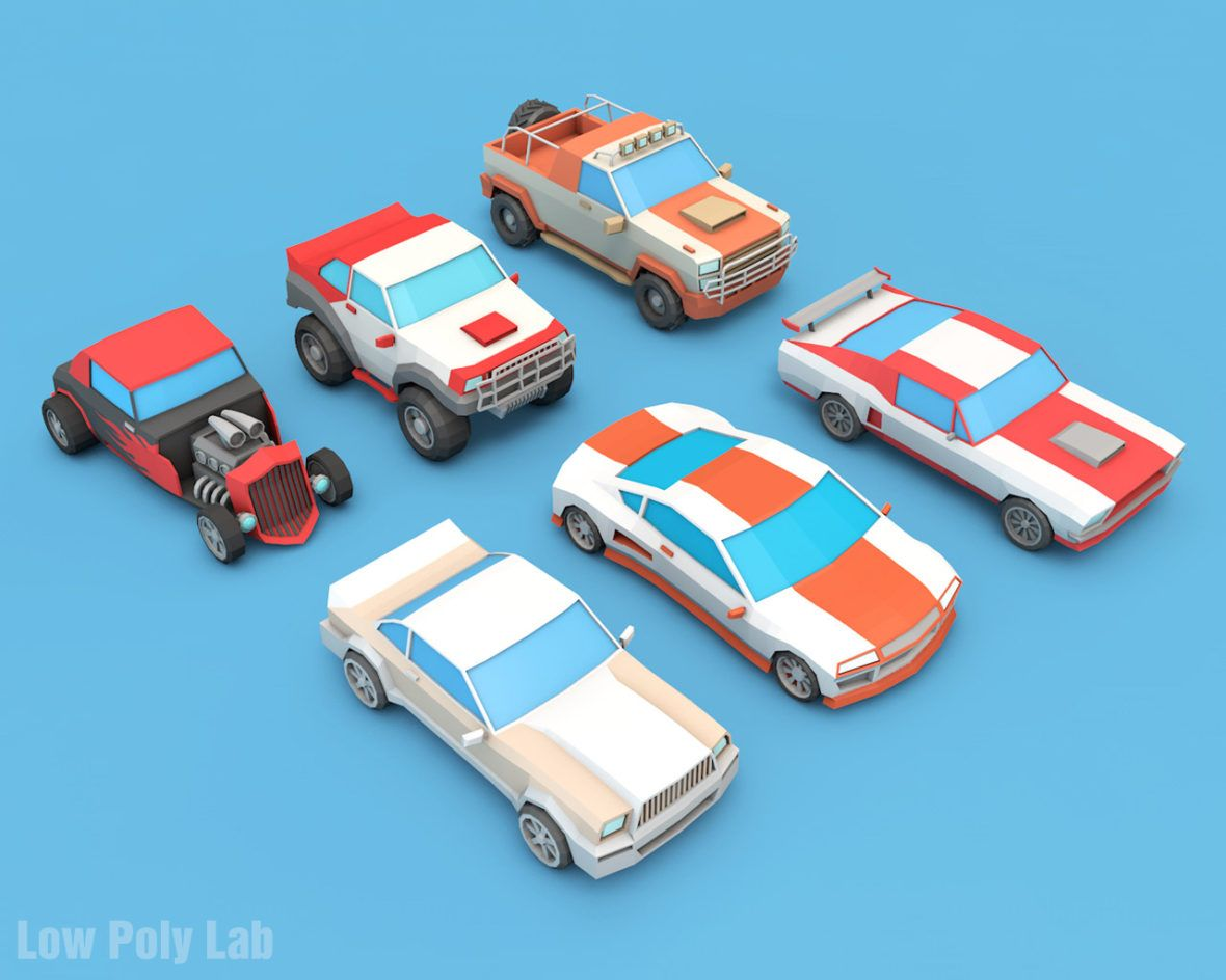 Low Poly Racing Car Set Download Game Ready 3D model | Low Poly City