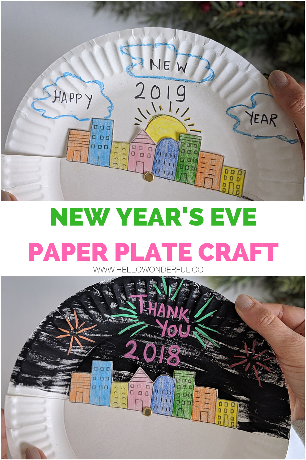 New Year S Eve Paper Plate Craft For Kids New Years Crafts Ideas