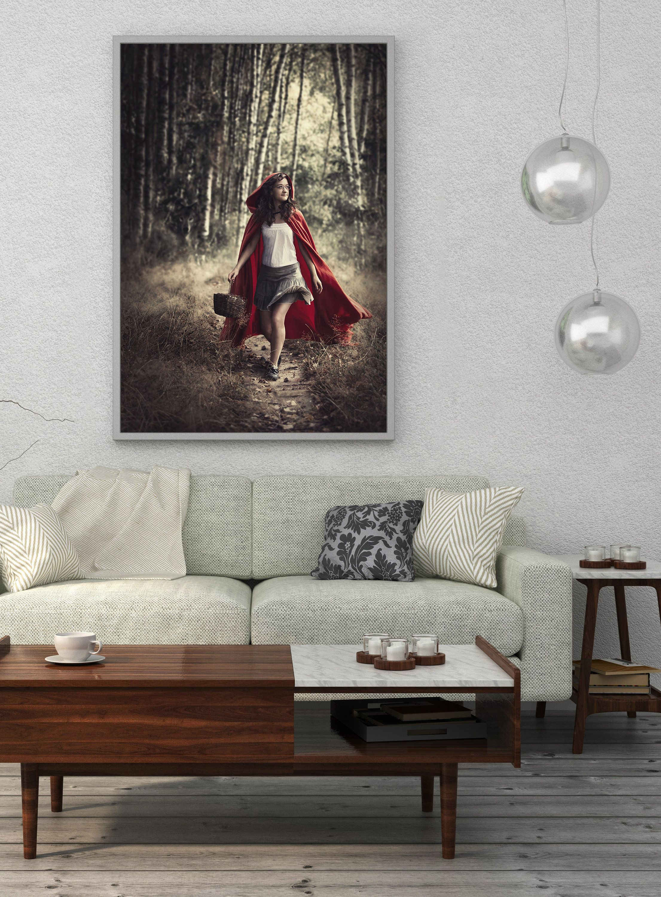 Fine art print red riding hood 1 vertical wall art little red riding hood limited edition prints giclee print fantasy scene fairytale art prints