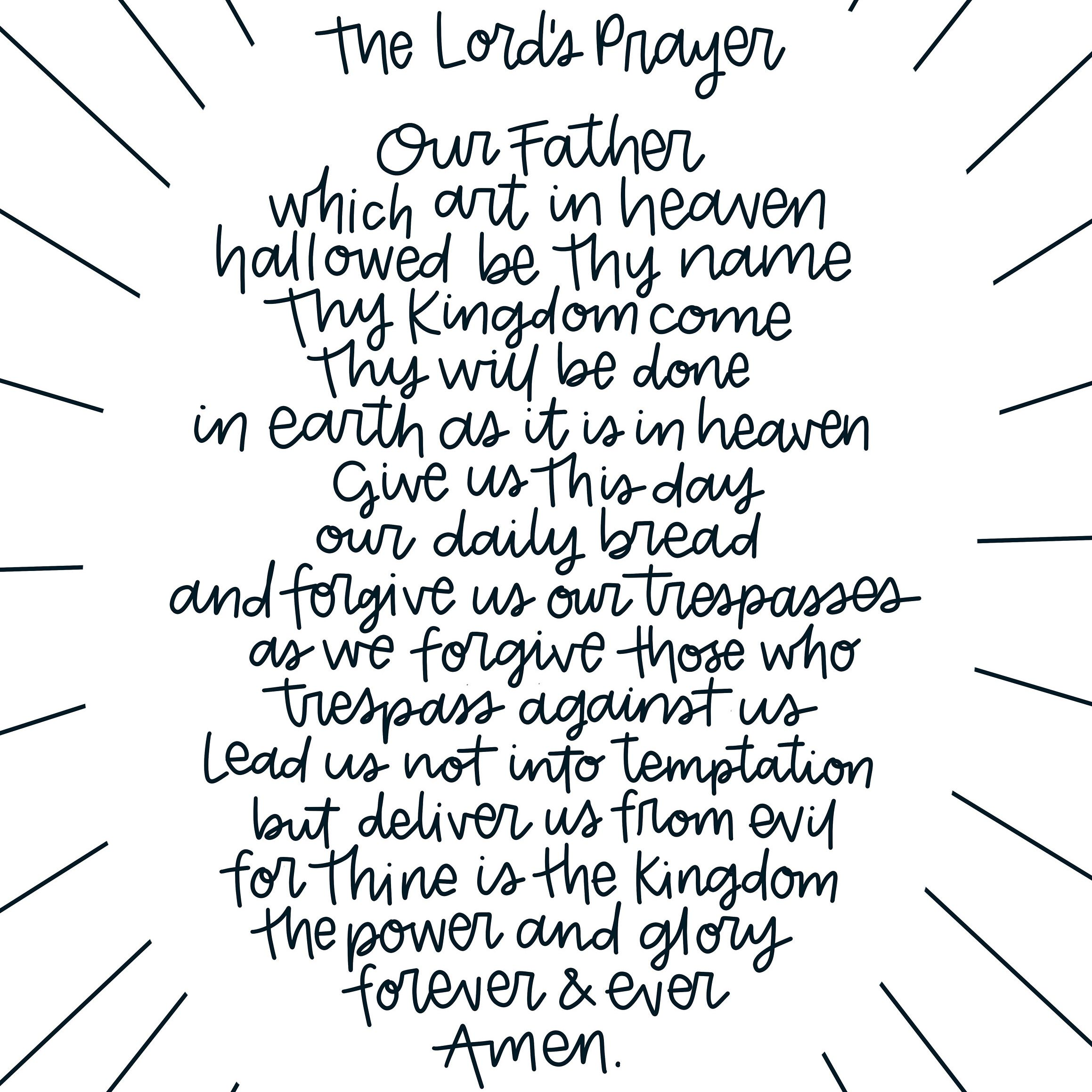 Modern Lord S Prayer Printable Download Art Print