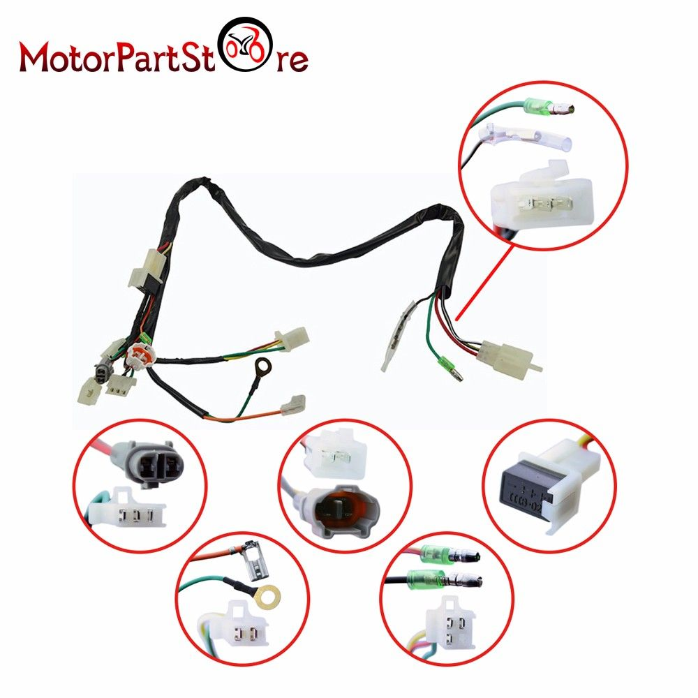 small resolution of electrical main wiring harness wire loom plus connectors for yamaha pw50 pw 50 2 stroke 50cc