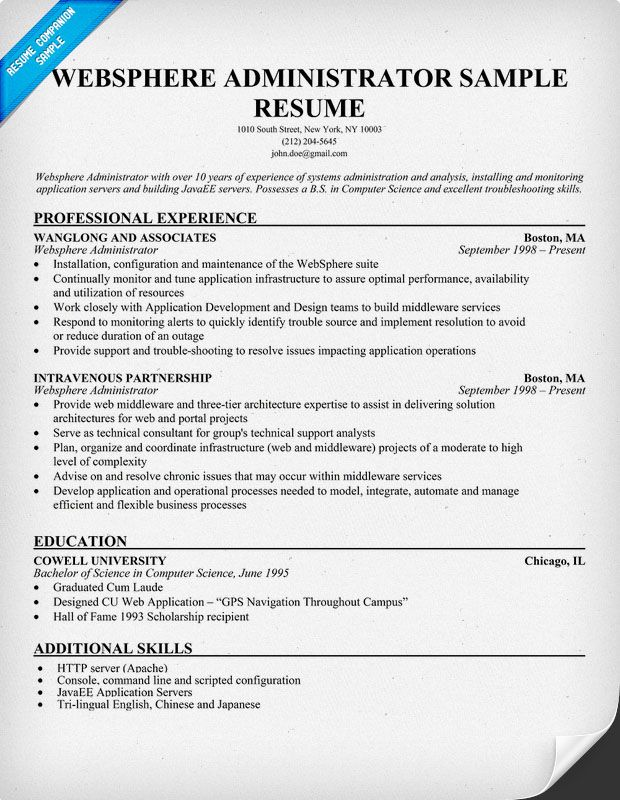 Websphere #Administrator Resume Example (  resumecompanion - web sphere administrator resume