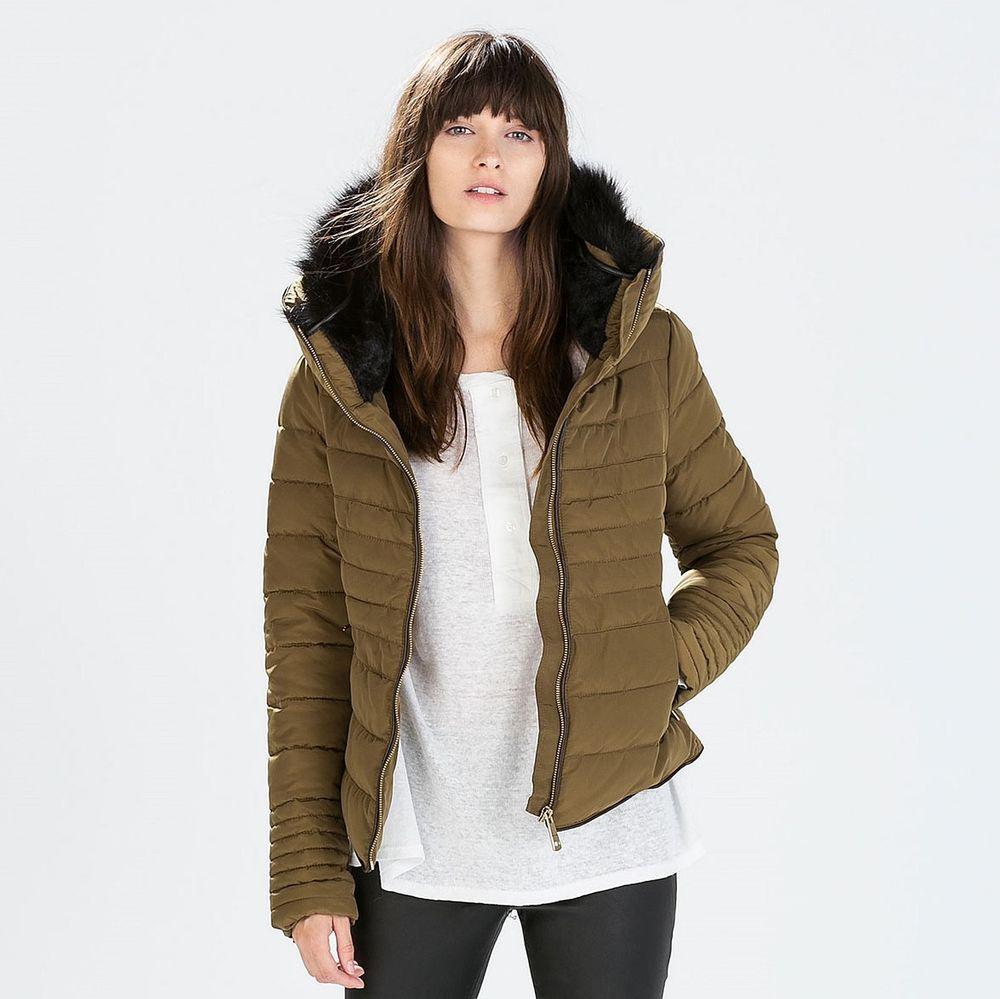 Zara Woman Bnwt Olive Green Short Anorak With Fur Collar