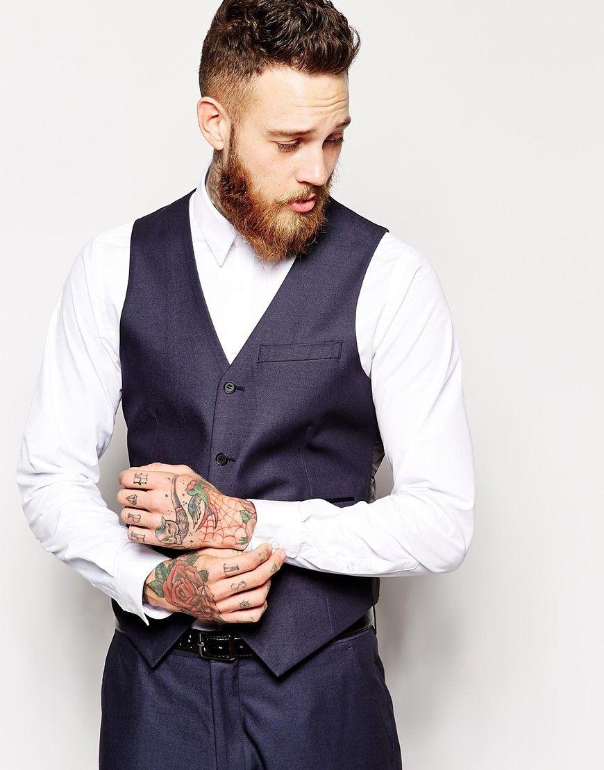 Cheap Price Buy Discount Slim Waistcoat in Tonic - Navy Asos Designer D9MTpT