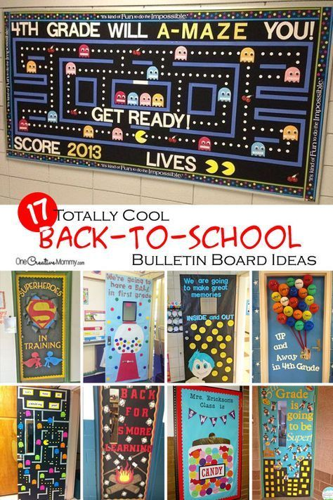 Start the school year off right with cool back to school bulletin board ideas and classroom door decorations! OneCreativeMommy.com & Wow the class with these cool back to school bulletin board ideas ...