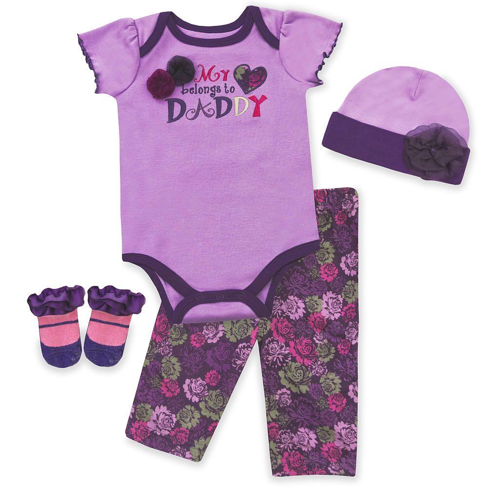 Baby Essentials 4 Piece Layette Gift Set Purple Pacesetter Babies R Us Baby Girl Layette Layette Set Baby Essentials Newborn