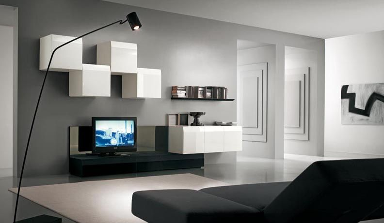 Amazing Gray And White Color Scheme Living Room Design With Simple Black TV  Table Unit And Modern White Storage Ideas Also Minimalist Black Wall Shelf  Ideas ...