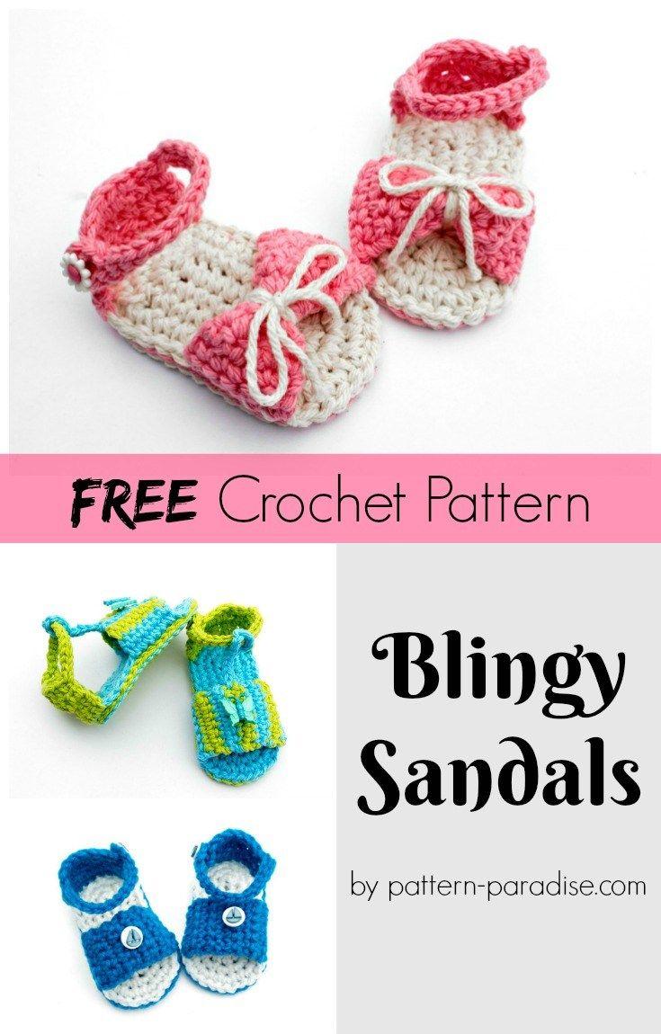 Free Crochet Pattern: Blingy Sandals | Baby/Children Clothes, etc ...