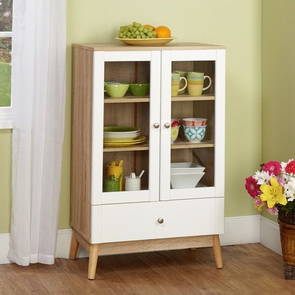 Simple Living Tillary White And Natural Two Door Cabinet Tillary